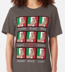 Italian gestures emotions chart Slim Fit T-Shirt
