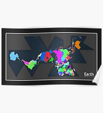 EARTH World Map Rainbow Countries Poster