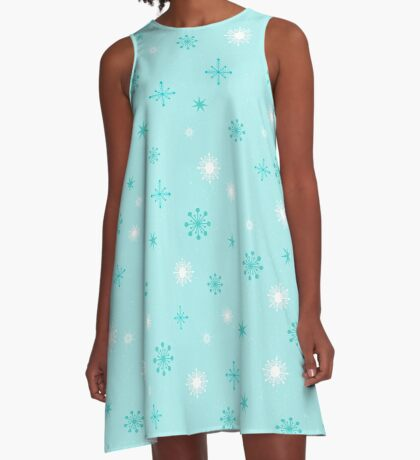 AFE Turquoise Snow Flakes A-Line Dress