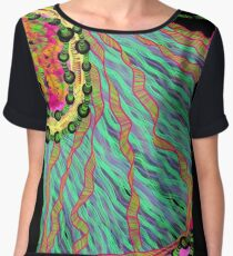 Fabrics of the Neon Tropical Fractal Jungle Women's Chiffon Top