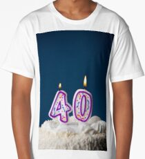 Cake: Birthday Cake With Candles For 40th Birthday Long T-Shirt