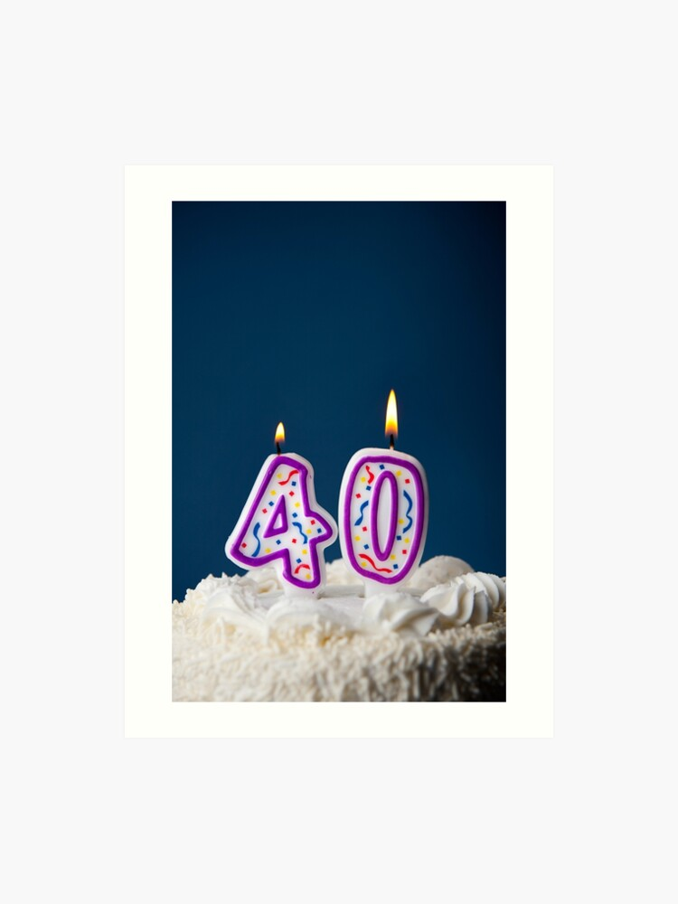 Cake Birthday With Candles For 40th Art Print