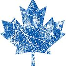 Canadian Maple Leaf Grunge Distressed Style in Blue by Garaga
