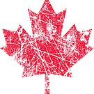 Canadian Maple Leaf Grunge Distressed Style in Red by Garaga