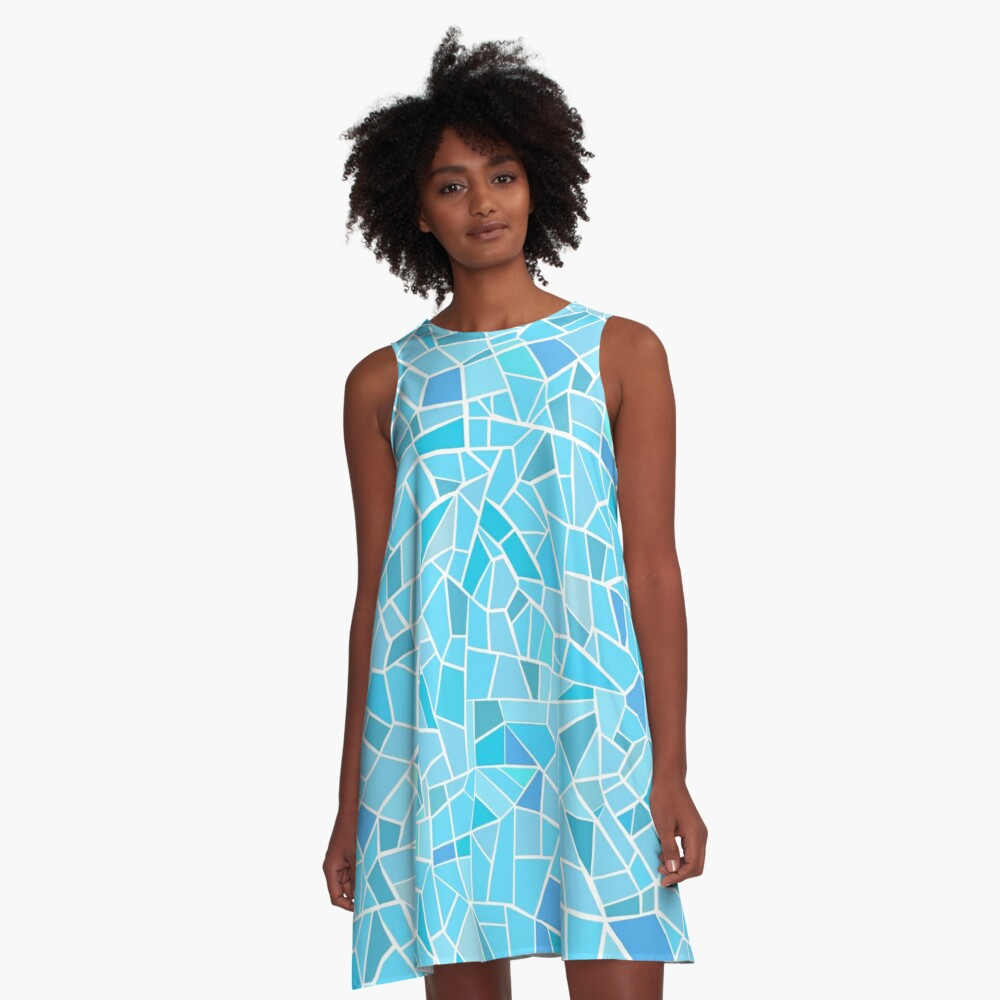 AFE Abstract Mosaic Pattern A-Line Dress Front