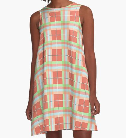 AFE Summer Plaid Pattern A-Line Dress