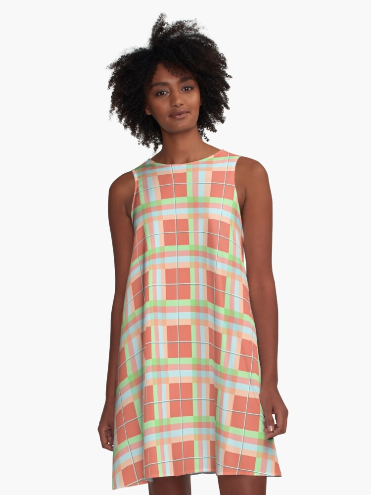 AFE Summer Plaid Pattern A-Line Dress Front