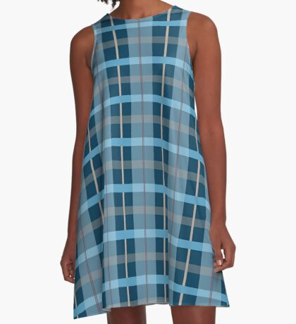 AFE Blue Plaid Pattern A-Line Dress