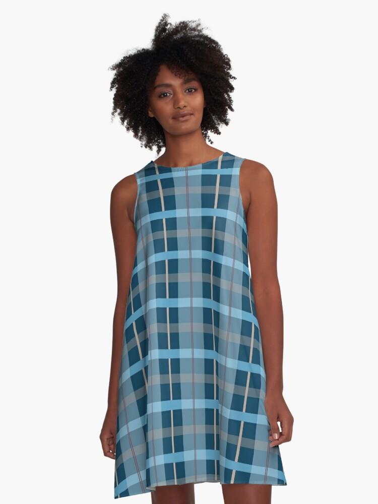AFE Blue Plaid Pattern A-Line Dress Front