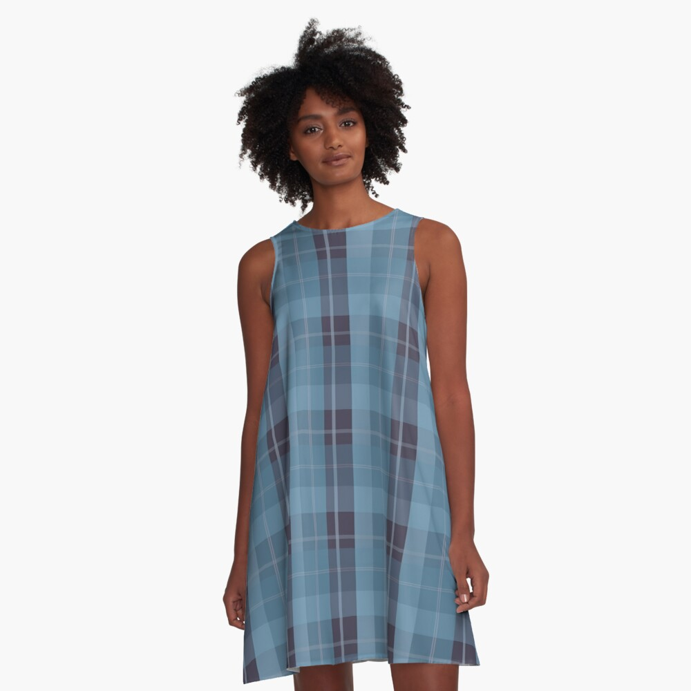 AFE Blue Plaid Pattern II A-Line Dress Front