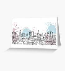 European city - Pastel drawing Greeting Card
