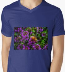 Bee on lavender flower close up macro photo T-Shirt