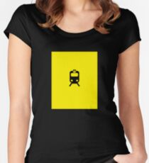 Chicago CTA Yellow Line Inspired Graphic Print Minimalism Women's Fitted Scoop T-Shirt