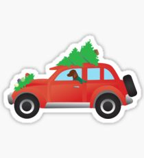 Vizsla Hound Dog Driving Christmas Car with Tree on Top Sticker