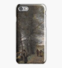 Ville d'Avray  Woodland Path Bordering the Pond 1872 Jean-Baptiste-Camille Corot iPhone Case/Skin