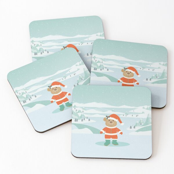 AFE Winter Teddy Bear Coasters (Set of 4)