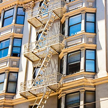 Exterior Fire Escape - San Francisco California - Canon 40D by Buckwhite