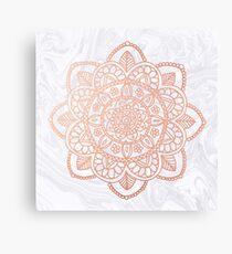 Rose Gold Mandala on White Marble Canvas Print