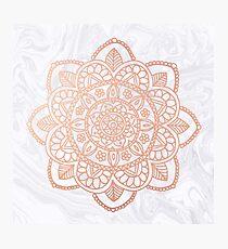 Rose Gold Mandala on White Marble Photographic Print