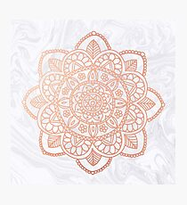 Rose Gold Mandala on White Marble Photographic Print
