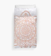 Rose Gold Mandala on White Marble Duvet Cover