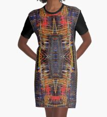 Night Lights weaving circle in red, yellow and black Graphic T-Shirt Dress