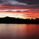 Sunset over Coomera River by Kathie Nichols