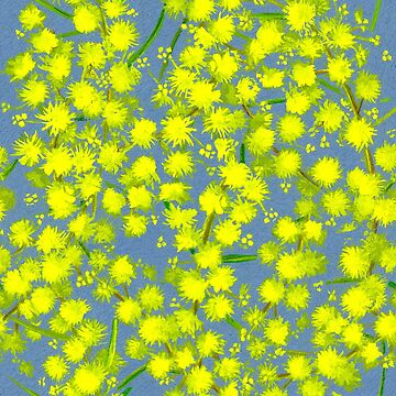 Yellow wattle acacia art pattern by sarahtrett