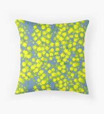Yellow wattle acacia art pattern Throw Pillow
