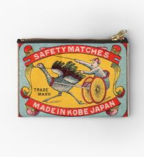 Antique Matchbox Label Ostrich Harness Racing Kobe Japan Studio Pouch
