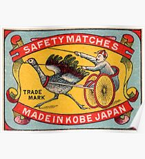 Antique Matchbox Label Ostrich Harness Racing Kobe Japan Poster