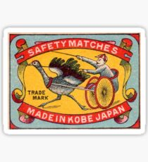 Antique Matchbox Label Ostrich Harness Racing Kobe Japan Sticker
