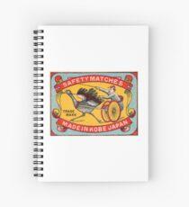 Antique Matchbox Label Ostrich Harness Racing Kobe Japan Spiral Notebook