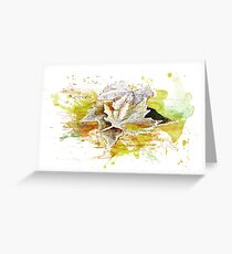Herbst, Winter - Blätter, Laub - Aquarell / Watercolor Greeting Card