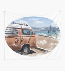 Vintage VW bus at the Golden Gate Bridge Wall Tapestry