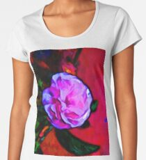 Pink Flower and a Green Leaf Women's Premium T-Shirt