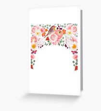 Autumn semicircle frame with wild rose, peony Greeting Card