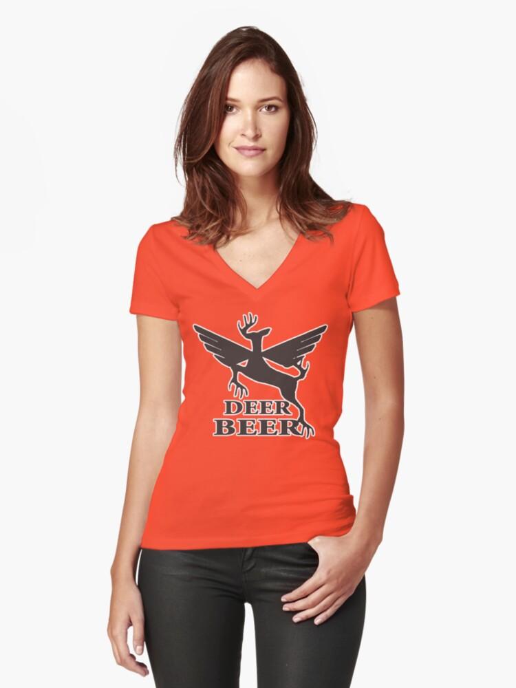 Deer beer t-shirt Women's Fitted V-Neck T-Shirt Front