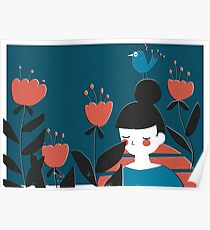 A Girl And Flowers Poster