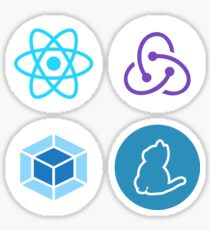 4 front-end sticker set: React, Redux, Webpack & Yarn Sticker