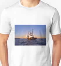Travel cruise ship with veils in the Aegean Sea in Santorini, Greece T-Shirt