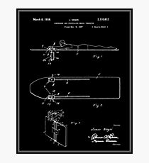 Surfboard Patent - Black Photographic Print