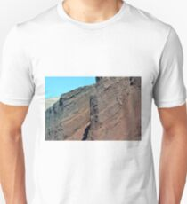 Cliff detail from the red beach in Santorini, Greece  T-Shirt