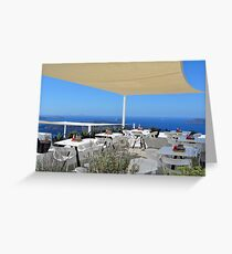 Elegant restaurant by the sea in Santorini, Greece Greeting Card