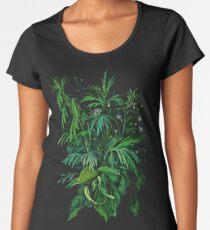 """Green & Black"", summer greenery, floral art, pastel drawing Women's Premium T-Shirt"