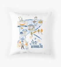 Illustrated Map of Harrogate, North Yorkshire by Katy Bloss Throw Pillow