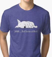 """SHHH..... Bull Terrier at Work!"" Tri-blend T-Shirt"