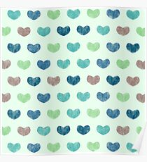 Colourful Cute Hearts V Poster