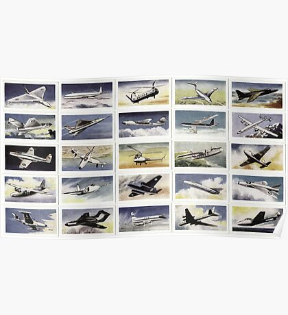 Military aircraft from 1950s. Collection of 25  Poster