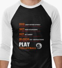 Volleyball Shirt For Men Funny Birthday Gifts Player Mens Baseball 3 4 T